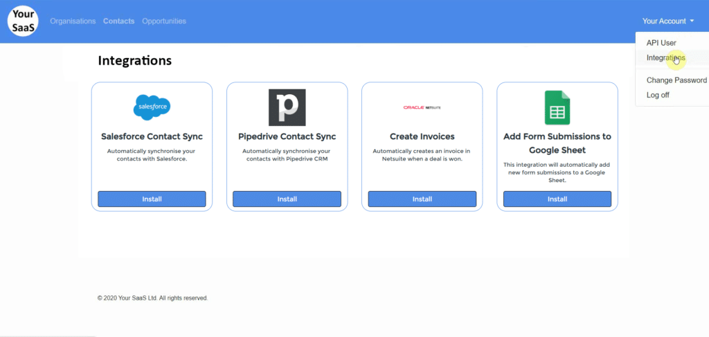 Embedded Integration Marketplace in your SaaS Application